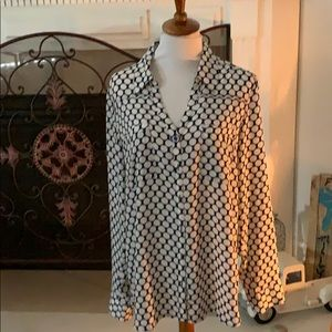 Tops - Blue and white large polka dots- express